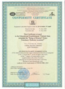 Conformity Certificate