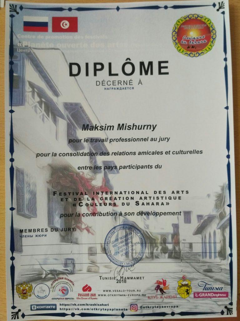 Диплом за профессиональную работу в жюри