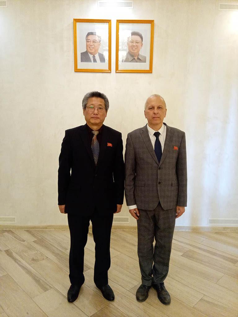 Посол КНДР в Беларуси товарищ Зу Зен Бон и С.Ю. Девятых